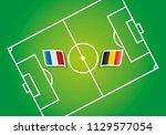 france vs belgium flags soccer... | Shutterstock .eps vector #1129577054