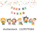 funny cartoon children and... | Shutterstock .eps vector #1129579283
