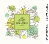 background with fenugreek ... | Shutterstock .eps vector #1129580369