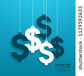 dollar signs hanging on the... | Shutterstock .eps vector #1129592633