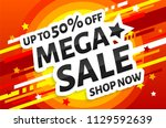mega sale poster. abstract... | Shutterstock .eps vector #1129592639