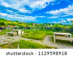 scenic view at colorful village ... | Shutterstock . vector #1129598918