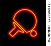 ping pong icon. orange neon...   Shutterstock .eps vector #1129600856