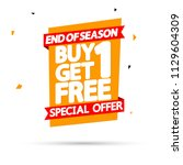 buy 1 get 1 free  sale tag ... | Shutterstock .eps vector #1129604309