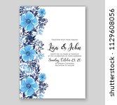 blue floral wedding invitation... | Shutterstock .eps vector #1129608056