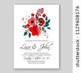 floral wedding invitation card... | Shutterstock .eps vector #1129608176