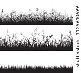 set of grass seamless borders.... | Shutterstock .eps vector #1129610699