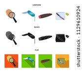 a fingerprint study  a folding... | Shutterstock .eps vector #1129610924
