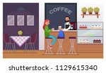 cafe casual interior with... | Shutterstock .eps vector #1129615340