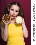 attractive brunette woman with... | Shutterstock . vector #1129619660