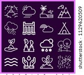 set of 16 nature outline icons... | Shutterstock . vector #1129620509