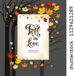 frame fall leaves on dark... | Shutterstock .eps vector #1129621289