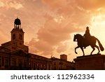 sunset in puerta del sol ... | Shutterstock . vector #112962334