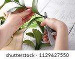 female florist make bouqet on... | Shutterstock . vector #1129627550