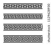 four seamless meander designs.... | Shutterstock .eps vector #1129628930