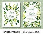 wedding invitation frames with... | Shutterstock .eps vector #1129630556
