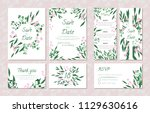 wedding card templates set with ... | Shutterstock .eps vector #1129630616
