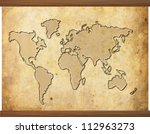world map in old grunge style... | Shutterstock . vector #112963273