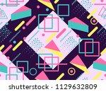 memphis seamless pattern.... | Shutterstock .eps vector #1129632809