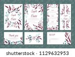 floral vintage cards set for... | Shutterstock .eps vector #1129632953
