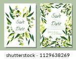 wedding invitation frames with... | Shutterstock .eps vector #1129638269