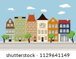 flat city landscape with... | Shutterstock .eps vector #1129641149