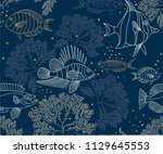 hand drawn seamless vector... | Shutterstock .eps vector #1129645553