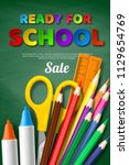 ready for school sale poster... | Shutterstock .eps vector #1129654769