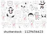 vector cartoon collection of... | Shutterstock .eps vector #1129656623