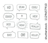 hand drawn comic speech bubbles ... | Shutterstock .eps vector #1129657910
