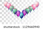 bright realistic helium vector... | Shutterstock .eps vector #1129660940