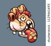 dopey cartoon dog head. vector... | Shutterstock .eps vector #1129661693