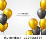 holiday banner with flying 3d... | Shutterstock .eps vector #1129666589