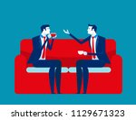 business people meeting talking.... | Shutterstock .eps vector #1129671323