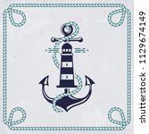 vintage emblem with anchor and... | Shutterstock .eps vector #1129674149