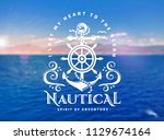 vector emblem with anchors ... | Shutterstock .eps vector #1129674164
