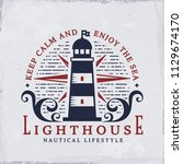 retro emblem with lighthouse... | Shutterstock .eps vector #1129674170