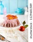 blood orange cake with pink... | Shutterstock . vector #1129681589