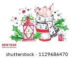 2019 happy new year... | Shutterstock . vector #1129686470