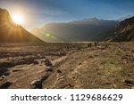 sunset at andes mountains... | Shutterstock . vector #1129686629