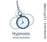 hypnosis concept. watch on a... | Shutterstock .eps vector #1129712480