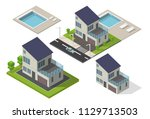 isometric street low poly... | Shutterstock .eps vector #1129713503