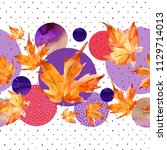 abstract floral and geometric... | Shutterstock . vector #1129714013