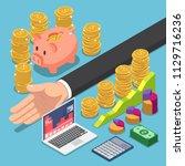 flat 3d isometric businessman... | Shutterstock .eps vector #1129716236