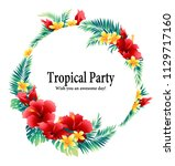 tropical flower decoration... | Shutterstock .eps vector #1129717160