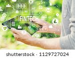 cryptocurrency fintech theme... | Shutterstock . vector #1129727024