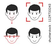 face scanning set icons. vector.... | Shutterstock .eps vector #1129733243