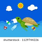 plastic pollution in ocean... | Shutterstock .eps vector #1129744226