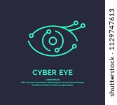 conceptual logo and label cyber ... | Shutterstock .eps vector #1129747613