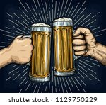 hands holding and clinking beer ... | Shutterstock .eps vector #1129750229